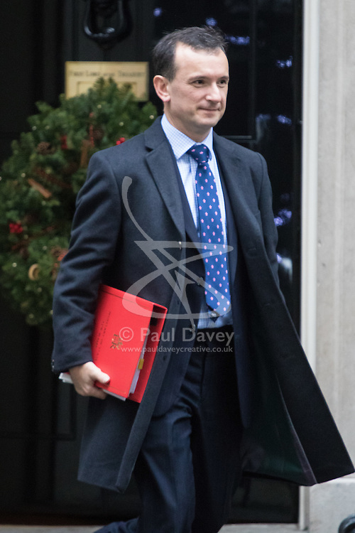 Downing Street, London, December 13th 2016. Welsh Secretary Alun Cairns leaves the weekly meeting of the cabinet at Downing Street, London.