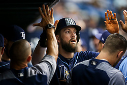 July 8, 2017 - St. Petersburg, Florida, U.S. - WILL VRAGOVIC       Times.Tampa Bay Rays right fielder Steven Souza Jr. (20) in the dugout after scoring on the sacrifice fly by catcher Jesus Sucre (45) in the second inning of the game between the Boston Red Sox and the Tampa Bay Rays at Tropicana Field in St. Petersburg, Fla. on Saturday, July 8, 2017. (Credit Image: © Will Vragovic/Tampa Bay Times via ZUMA Wire)