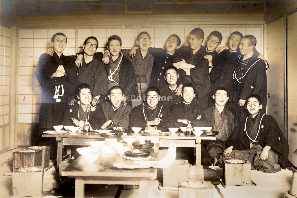 rowdy male only student group having a good time together Japan ca 1950s