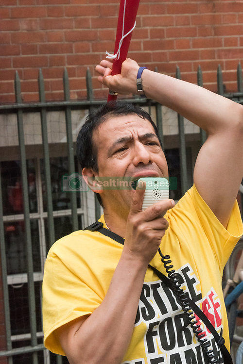 June 2, 2017 - London, UK - London, UK. 2nd June 2017. Cleaner Victor Ramirez speak as United Voices of the World Cleaners end the seventh day of their strike for equal treatment at the London School of Economics with a rally showing their determination to continue the struggle. The LSE management had made them an offer some days ago, but withdrew it after the cleaners accepted it and the dispute appears to be widening, with students, workers from other institutions and other unions including the UCU coming to express their solidarity. There was poetry from Poets on the Picket Line as well as dancing and some high-energy chanting. Peter Marshall Images Live (Credit Image: © Peter Marshall/ImagesLive via ZUMA Wire)