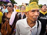 05 AUGUST 2013 - BANGKOK, THAILAND: Anti-government protestors sing the Thai national anthem during an anti-government protest in Bangkok. About 500 people, members of the  People's Army against Thaksin Regime, a new anti-government group, protested in Lumpini Park in central Bangkok. The protest was peaceful but more militant protests are expected later in the week when the Parliament is expected to debate an amnesty bill which could allow Thaksin Shinawatra, the exiled former Prime Minister, to return to Thailand.    PHOTO BY JACK KURTZ