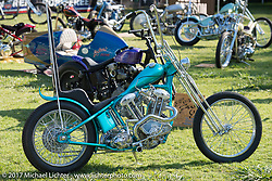Martin Carlgren of Ringo Chop Shop in Gothenburg, Sweden built this 1947 SRM (Swedish Racing Motor) 1,000 cc chopper with a completely hand-fabricated engine based on an old Husqvarna Motorcycle design as an invited builder to Born Free 9 doing the final assembly in Jeff Leighton and Dave Polgreen's The Wretched Hive Santa Ana, CA shop just before the start of the show. Born Free 9 Motorcycle Show. Costa Mesa, CA. USA. Friday June 23, 2017. Photography ©2017 Michael Lichter.