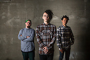 POUNDERS, Alonso Hernandez, Chris Pounders, and Justin Imamura (left to right), pose for a portrait in San Jose, California, on March 26, 2015. (Stan Olszewski/SOSKIphoto for Content Magazine)