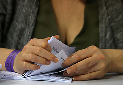Ballot papers being counted at the Emirates Arena in Glasgow during the 2017 General Election.