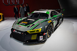 NEW YORK, USA - MARCH 23, 2016: Audi R8 LMS race car on display during the New York International Auto Show at the Jacob Javits Center.
