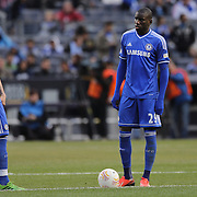 Ferando Torres, (left) Chelsea and Demba Ba, Chelsea,  during the Manchester City V Chelsea friendly exhibition match at Yankee Stadium, The Bronx, New York. Manchester City won the match 5-3. New York. USA. 25th May 2012. Photo Tim Clayton