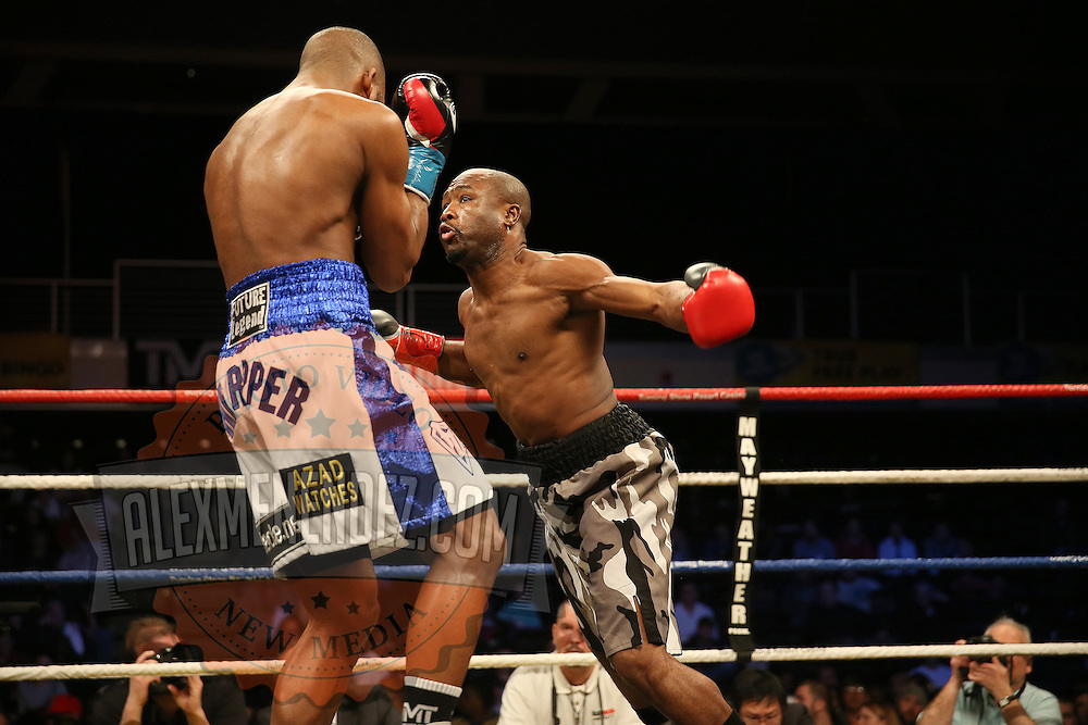 Super Middleweight fighter Derek Edwards (camp) fights Badou Jack  during Showtime Televisions ShoBox:The Next Generation boxing match at the Event Center at Turning Stone Resort Casino on Friday, February 28, 2014 in Verona, New York.  (AP Photo/Alex Menendez)