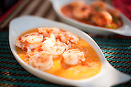 Myanmar, Ngapali. Prawns in coconut served in Ngapali.