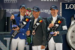 GCT Podium Antwerp Penelope Leprevost winner of the Global Champions Tour of Antwerp with Flora de Mariposa.<br /> Second place for Simon Delestre and third for Rolf Goran Bengtsson<br /> Global Champions Tour Antwerp 2016<br /> © Hippo Foto - Dirk Caremans<br /> 23/04/16