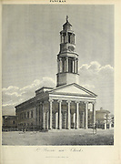 19th century illustration of St. Pancras New Church, London Copperplate engraving From the Encyclopaedia Londinensis or, Universal dictionary of arts, sciences, and literature; Volume XVIII;  Edited by Wilkes, John. Published in London in 1821