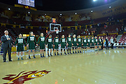 March 18, 2016; Tempe, Ariz;  The Green Bay Phoenix line up for the national anthem before a game between No. 7 Tennessee Lady Volunteers and No. 10 Green Bay Phoenix in the first round of the 2016 NCAA Division I Women's Basketball Championship in Tempe, Ariz.