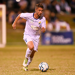 BRISBANE, AUSTRALIA - FEBRUARY 10: James Coutts of United dribbles the ball during the NPL Queensland Senior Mens Round 2 match between Gold Coast United and Brisbane Roar Youth at Station Reserve on February 10, 2018 in Brisbane, Australia. (Photo by Football Click / Patrick Kearney)