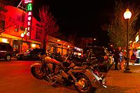 A Honda Shadow aero motorcycle, First Friday art walk in the Tennyson Street Cultural District, Denver, Colorado USA