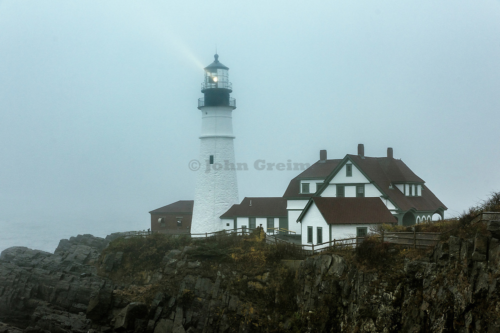 Portland Head Lighthouse during coastal storm, Cape Elizabeth, Maine, USA.