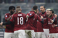 AC Milan players celebrate after Ante Rebic scored to give the side a 1-0 lead during the Serie A match at Giuseppe Meazza, Milan. Picture date: 9th February 2020. Picture credit should read: Jonathan Moscrop/Sportimage