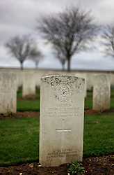 08 November 2020. Ovillers Cemetery, The Somme, Ovillers, France.<br /> The marker for Captain John C Lauder, son of Britain most famous singer at the time of his death. His body lied just across the valley from Lochnagar Crater along with the remains of 3,440 Commonwealth servicemen of the First World War buried or commemorated in the cemetery. 2,480 of the burials are unidentified. The cemetery also contains the graves of 120 fallen French servicemen. Many of the casualties occured the first day of the Battle off the Somme, July 1st 1916 when British troops attempted to take the towns of ovillers and la Boisselle after detonating an enormous mine at Lochnagar. Heavily fortified German positions annihilated the British advance leaving in excess of 6,000 casualties on the first day of the battle of the Somme. In total there were over 1 million casualties during the battle with over 60,000 casualties on July 1st 1916.<br /> Photo©; Charlie Varley/varleypix.com