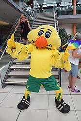 Norwich Pride, 28 July 2018 UK - Norwich FC's mascot, Captain Canary