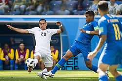 June 22, 2018 - Sankt Petersburg, Russia - 180622 David Guzman of Costa Rica and Thiago Silva of Brazil during the FIFA World Cup group stage match between Brazil and Costa Rica on June 22, 2018 in Sankt Petersburg..Photo: Petter Arvidson / BILDBYRÃ…N / kod PA / 92075 (Credit Image: © Petter Arvidson/Bildbyran via ZUMA Press)