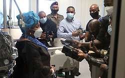 South Africa - Pretoria - 19 October 2020 - Defence Minister Nosiviwe Mapisa-Nqakula speaks to the media during a visit to the ICU at 1 Military Hospital.<br />