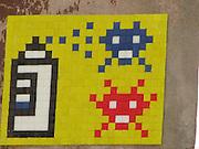 Italy, Rome, Pixel Art graffiti - Space invaders
