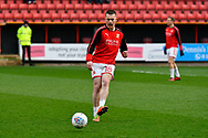 Donal McDermott (18) of Swindon Town warming up before the EFL Sky Bet League 2 match between Swindon Town and Yeovil Town at the County Ground, Swindon, England on 10 April 2018. Picture by Graham Hunt.