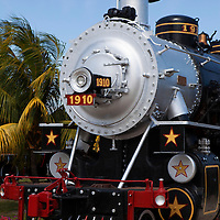 Central America, Cuba, Remedios. Steam Locomotive at The Museum of Sugar Industry and Museum of Steam.