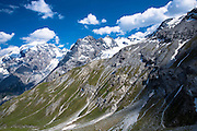 The Ortler Alps from The Stelvio Pass, Passo dello Stelvio, Stilfser Joch, in the Eastern Alps in Northern Italy