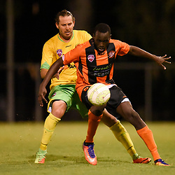 BRISBANE, AUSTRALIA - MARCH 17: Youeil Shol of Easts controls the ball in front of Jonathan Mckain of Rochedale during the FQPL Senior Men's Round 7 match between Eastern Suburbs and Rochedale Rovers on March 17, 2018 in Brisbane, Australia. (Photo by Eastern Suburbs / Patrick Kearney)