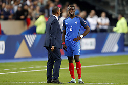 (L-R) assistant trainer Ruud Gullit of Holland, Paul Pogba of France during the FIFA World Cup 2018 qualifying match between France and Netherlands on August 31, 2017 at Stade de France in Saint Denis,  France