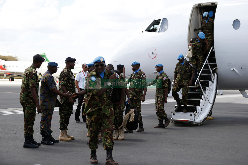 The first 100 batch of Kenya Defense Forces troops from the U.N. peacekeeping mission in South Sudan arrive at JKIA on November 9, 2016. The President ordered them to withdraw in response to the sacking by UN of the Kenyan commander of the UNMISS force Lieutenant General Johnson Mogoa Kimani Ondieki. Photo/Jack Owuor