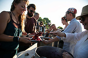 A mobile kitchen feed the many people taking part in the event in New Preston Road, Lancashire, United Kingdom, June 29th 2018.  Block Around the Clock - a fourty eight hours of event with work shops, yoga, sleeping and anti-fracking campaigning in front of the gates to Cuadrillas fracking site in Lancashire. The event was organised by anti-fracking campaigners in spite of an injunction granted to Cuadrilla to prevent protest against the impending shale gas exploitation. The Cuadrilla site in Lancashire in a highly contested site, almost ready to drill for gas.