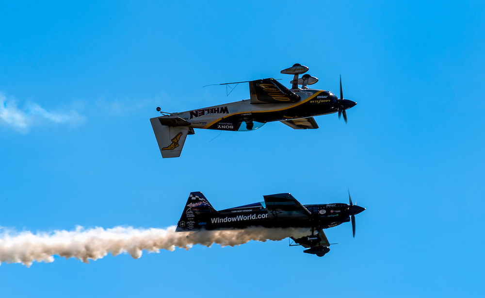 HOMESTEAD, FL - NOVEMBER 5, 2012: Airplaines performing and doing aerobatics demonstration during the Wings over Homestead Air Show, taken November 5 of 2012