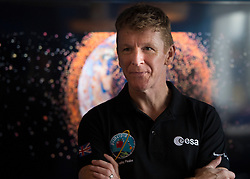 British astronaut Tim Peake speaks during a visit to Clyde Space in Glasgow, where he took part in a Q & A with children from from Baljaffray Primary School and Bearsden Academy.