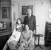 Erskine Childers At Home.1973..16.04.1973..04.16.1973..16th April 1973..After his nomination as party candidate for Fianna Fail, Mr Erskine Childers was photographed at his home in a relaxed athmosphere..Pictured at their family home Mr Erskine Childers,his wife,Rita and daughter Nessa pose for family pictures in the run up to the presidential election