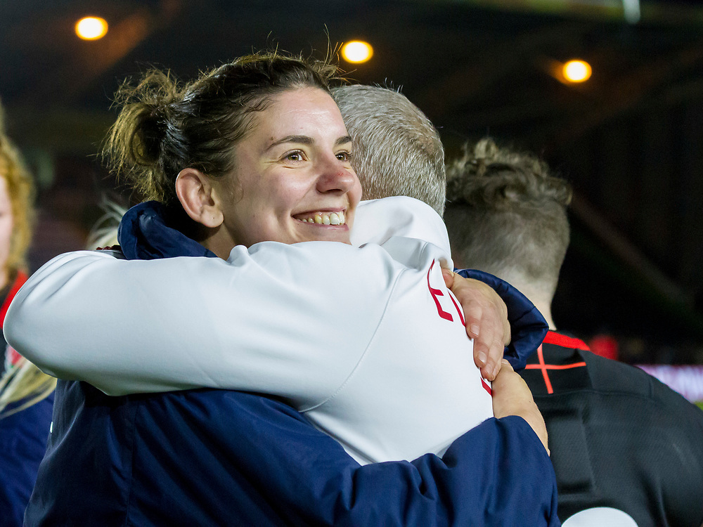 Sarah Hunter and Simon Middleton share a celebration hug, England Women v Canada in an Autumn International match at The Stoop, Twickenham, London, England, on 21st November 2017 Final score 49-12
