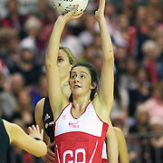 Rachel Shaw, England, in action during the New Zealand V England, New World International Netball Series, at the ILT Velodrome, Invercargill, New Zealand. 6th October 2011. Photo Tim Clayton...