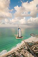 Panoramic aerial view of the luxurious Burj Al Arab Hotel in the bay of Dubai, U.A.E.