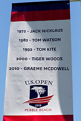 June 11, 2019 - Pebble Beach, CA, U.S. - PEBBLE BEACH, CA - JUNE 11: A banner showing all the previous winners of the US Open played at Pebble Beach is on display during a practice round for the 2019 US Open on June 11, 2019, at Pebble Beach Golf Links in Pebble Beach, CA. (Photo by Brian Spurlock/Icon Sportswire) (Credit Image: © Brian Spurlock/Icon SMI via ZUMA Press)