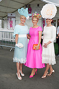 30/07/2015 report free : Winners Announced in Kilkenny Best Dressed Lady, Kilkenny Best Irish Design & Kilkenny Best Hat Competition at Galway Races Ladies Day <br /> At the event was Claire Murphy, Tralee,  Elaine Kelleher and Joanne Murphy,  Kerry <br /> Photo:Andrew Downes, xposure