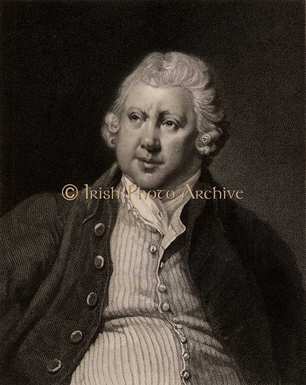 Richard Arkwright (1732-1792), English inventor and industrialist, born at Preston in Lancashire.  Inventor in 1769 of the spinning frame (water frame).  In 1771, in partnership with Jeddiah Strutt, he built the first water-powered cotton mill at Cromford, Derbyshire.  His innovations contributed significantly to the Industrial Revolution and he died one of the richest men in England.  Engraving after the portrait by Joseph Wright of Derby.   From 'The Gallery of Portraits', Vol V, by Charles Knight (London, 1835).