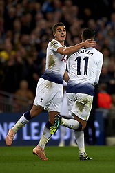 October 3, 2018 - London, England, United Kingdom - Erik Lamela of Tottenham celebrates after scoring his sides first goal whit Harry Winks during the Group B match of the UEFA Champions League between Tottenham Hotspurs and FC Barcelona at Wembley Stadium on October 03, 2018 in London, England. (Credit Image: © Jose Breton/NurPhoto/ZUMA Press)
