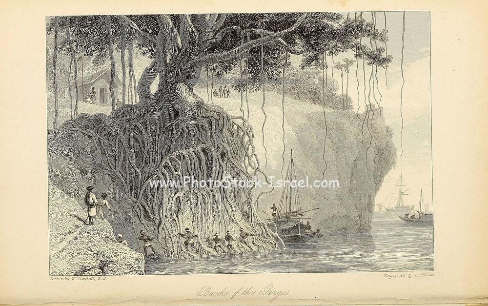 Banks Of The Ganges river From the book ' The Oriental annual, or, Scenes in India ' by the Rev. Hobart Caunter Published by Edward Bull, London 1834 engravings from drawings by William Daniell