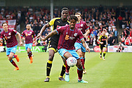 Scunthorpe United's Ivan Toney (9) shields the ball during the EFL Sky Bet League 1 match between Scunthorpe United and Rotherham United at Glanford Park, Scunthorpe, England on 12 May 2018. Picture by Nigel Cole.