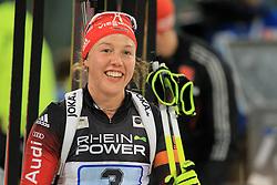 28.12.2013, Veltins Arena, Gelsenkirchen, GER, IBU Biathlon, Biathlon World Team Challenge 2013, im Bild Laura Dahlmeier (Deutschland / Germany) freudig, gluecklich am Lachen // during the IBU Biathlon World Team Challenge 2013 at the Veltins Arena in Gelsenkirchen, Germany on 2013/12/28. EXPA Pictures © 2013, PhotoCredit: EXPA/ Eibner-Pressefoto/ Schueler<br /> <br /> *****ATTENTION - OUT of GER*****