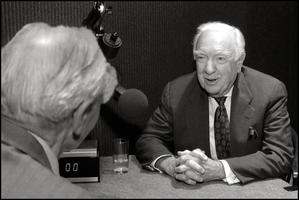 Walter Cronkite being interviewed in New York City on May 15, 1995