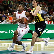 Fenerbahce Ulker's Emir PRELDZIC (R) and Olimpiakos's Kyle HINES (L) during their Two Nations Cup basketball match Fenerbahce Ulker between Olimpiakos at Abdi Ipekci Arena in Istanbul Turkey on Saturday 01 October 2011. Photo by TURKPIX