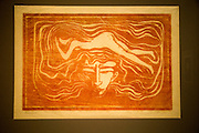'In the Man's Brain' 1897 woodcut by Edvard Munch 1863-1944, Kode 3 art gallery Bergen, Norway