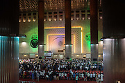 Indonesian muslims pray during Ramadan, in the Istiqlal Mosqure on 8th June 2018, Jakarta, Java, Indonesia. The Mosque is the largest in Southeast Asia.