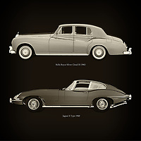 For the lover of old classic cars, this combination of a Rolls Royce Silver Cloud III 1963 and Jaguar E Type 1960 is truly a beautiful work to have in your home.<br /> The classic Rolls Royce Silver Cloud III and the beautiful Jaguar E Type are among the most beautiful cars ever built.<br /> You can have this work printed in various materials and without loss of quality in all formats.<br /> For the oldtimer enthusiast, the series by the artist Jan Keteleer is a dream come true. The artist has made a fine selection of the very finest cars which he has meticulously painted down to the smallest detail. – –<br /> -<br /> <br /> BUY THIS PRINT AT<br /> <br /> FINE ART AMERICA<br /> ENGLISH<br /> https://janke.pixels.com/featured/rolls-royce-silver-cloud-iii-1963-and-jaguar-e-type-1960-jan-keteleer.html<br /> <br /> WADM / OH MY PRINTS<br /> DUTCH / FRENCH / GERMAN<br /> https://www.werkaandemuur.nl/nl/werk/Rolls-Royce-Silver-Cloud-III-1963-en-Jaguar-E-Type-1960/757787/93?mediumId=1&size=60x60<br /> –