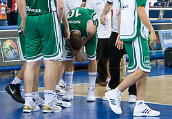 Bostjan Nachbar (10) of Slovenia injured in his wrist during the EuroBasket 2009 Group F match between Slovenia and Turkey, on September 16, 2009 in Arena Lodz, Hala Sportowa, Lodz, Poland.  (Photo by Vid Ponikvar / Sportida)